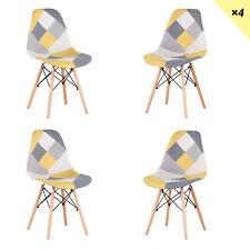 Pack de 4 Sillas Pierna de madera Silla Comedor Patchwork Amarillo