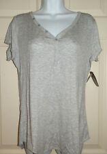 New  Womens size 2X 18W-20W Gray Henley Sleep Pajama Top T-Shirt Rayon
