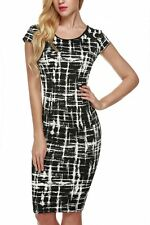 """JULZ"" BEAUTIFUL LADIES BLACK & WHITE SIZE 10 SUMMER FITTED STRETCH PENCIL DRESS"