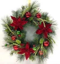 "Poinsettia~Pine Vine Wreath. Red/Green Ornaments, Berries. 22"". Artificial"