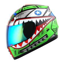 DOT Motorcycle Youth Full Face Helmet Kids Bike Shark Marine Shark Green