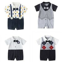 Newborn Infant Baby Boys Gentleman Romper with Bow Tie Stripe Jumpsuit Outfits