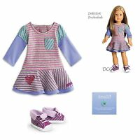 """American Girl MY AG SCHOOL STRIPES DRESS Outfit for 18"""" Dolls Clothes Shoes NEW"""