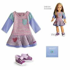 """American Girl MY AG SCHOOL STRIPES DRESS Outfit for 18"""" Dolls Retired Shoes NEW"""
