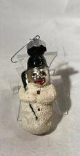 Vtg Antique German Glass Mica Snowman w/Black Hat/Green Broom Christmas Ornament