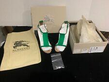 NEW Burberry Prorsum Green Beige PVC Suede T-Strap Heels Shoes EU 38 US 7.5