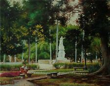Cuban Artist, Alexis Plasencia, Parque Central, CUBA, Oil on Canvas, Cityscape