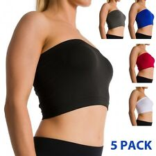 5 Pack Seamless Strapless Bra Bandeau Fits Fashion Tube Top Sports Bra Yoga