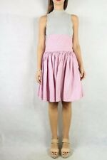 Vintage 1970s Grey Pink Stripe Waisted Midi Skirt & Top Set Size S 10