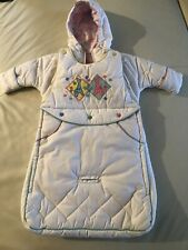 Vintage Alpine Way Unisex white Baby Bunting Outfit 0-6mth car seat compatible