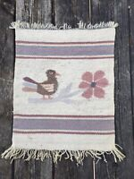 "Pretty Vtg Southwest Navajo (?) Wool Woven Textile 19""x 14"" Bird Flower"