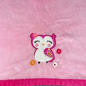 Carters Embroidered Owl Pink Baby Blanket Felt Flowers Textured Lovey Security