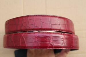 "No Jointed Dark Red Real Alligator Crocodile Leather Skin MEN'S BELT - W 1.3"""