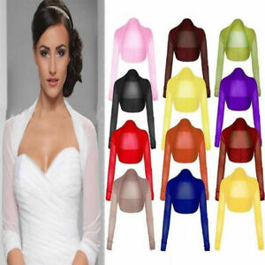 Women's Ladies Full Mesh Sheer Chiffon Bolero Cropped Shrug Top Cardigan BLACK