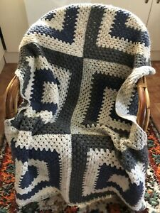 Vintage Handmade Blue Cream Grey Afghan Blanket Throw Crochet  Squares Blanket
