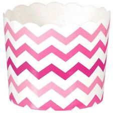 PINK CHEVRON SMALL PAPER CUPS (24) ~Birthday Party Supplies Baking Serving Snack