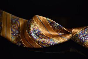 Robert Talbott Best Class Sunflower Orange Gloss Satin Baroque Stripe Silk Tie