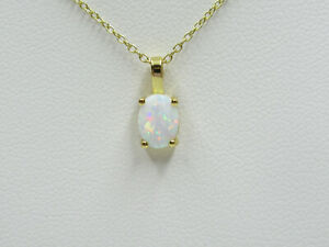Gold White Fire Opal Pendant Gift for Bride Woman Girl Wife Gold Plated Sterling
