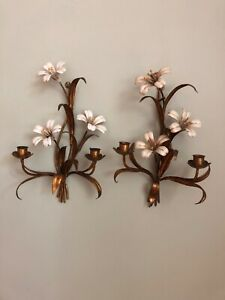 Pair of Italian Tole White Lily Sconces Antique Made in Italy