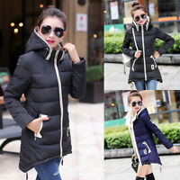 Womens Hooded Cotton Ladies Long Winter Coat Parka Jacket Outwear Padded Fashion