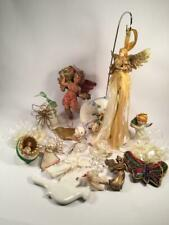 Lot Of Vintage Christmas Ornaments Angels Cherubs Birds Lladro Bell Butterfly