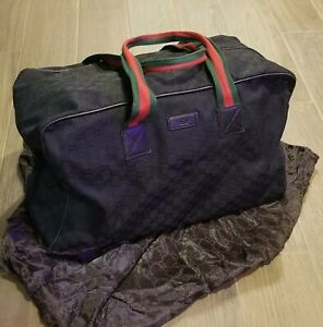 Gucci Canvas Travel Duffle Bag Black Monogram Web w/ Green & Red Striped Handles