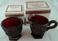 Creamer Sugar Bowl Set Avon 1876 Cape Cod Ruby Red Glass + Original Boxes
