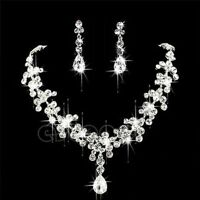 Bridal  Rhinestone Crystal Necklace Earrings Set for women wedding set