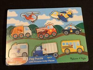 Melissa & Doug Fresh Start Wooden Peg Puzzle ~ Vehicles (8 Pcs) ~ New Sealed