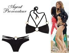 Agent Provocateur strappy black bikini M L gold hoop NEW kristie AP4 ec85f06fc