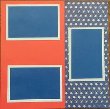 12X12 PATRIOTIC RED WHITE BLUE PREMADE SCRAPBOOK PAGE LAYOUT MSND - TONYA