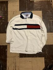 Vtg 90s Tommy Hilfiger Color Block Big Flag Spell Out Rugby Signature Polo XL