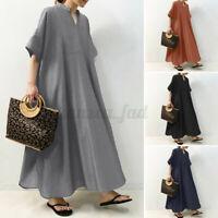 ZANZEA 8-24 Women Full Length Flare Swing A-Line Sundress Kaftan Long Maxi Dress