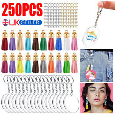 More details for 250pc clear acrylic circle discs keychain diy kit blanks tassel pendant key ring
