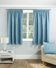 "Serenity Blue Blackout Thermal Curtains Lined Tape Pencil Pleat 46 x 72"" RRP £21"