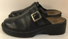 Noat Sz 6/37 Women's Black Leather Slip On Clogs