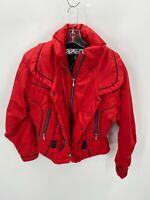 Vintage NILS Womens Medium Jacket Red Satin Full Zip Puffer Coat Ski Snowboard