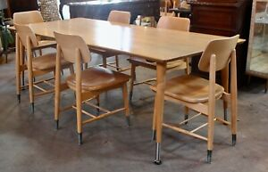 MCM LARGE DESIGNER TABLE AND 6 CHAIRS / Conference/ Desk/ Art Table