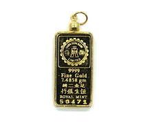 CAISHEN HANG SENG Bank ROYAL MINT 1/5 TAEL 999 Fine Gold Ingot 14k Bezel Pendant