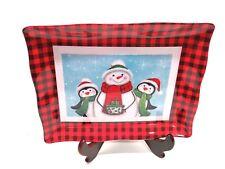Christmas Serving Tray Red & Black Checkered Snowmen Penguin Melamine 12 x 9-1/2