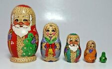 Wood Russian Nesting Dolls Set of 5 Santa Claus Tree Village 1998 Signed
