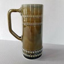 Vintage Irish Porcelain Drip Pottery Mug Stein Tankard - B Shamrock Mark - 6.5in