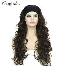 3/4 Band Headband wig Women's Dark brown Long Curly Wigs for Women ladies wigs