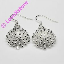 925 Sterling Silver Plated Small Dandelion Earring Dangle Earrings Free Shipping