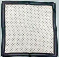 NWT Men's Silk Handkerchief Pocket Square Stein Mart White Black Polka Dot