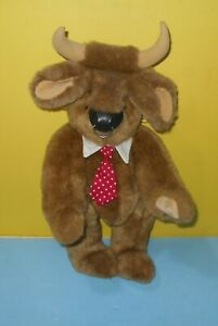 """15"""" Vermont Teddy Bear Boy Bull Bear Collar & Tie Bull Horns Wall Street Plush"""