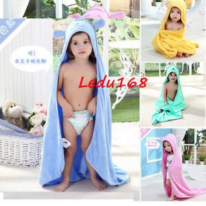 Children Kids Boys Girls Hooded Poncho Beach Bath Swimming Cotton Towel Blanket