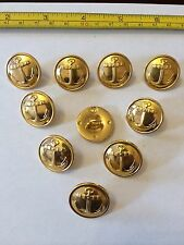 Lot of 10 USSR Russian Navy Uniform Gold Metal Buttons 22 mm Anchor