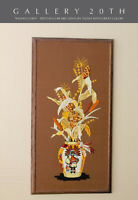 "MID CENTURY MARVELOUS! ""INDIAN CORN"" TAPESTRY! TEXTILE ORANGE YELLOW WALL ART"