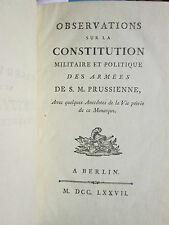 GUIBERT : OBSERVATIONS CONSTITUTION MILITAIRE ET POLITIQUE DES ARMEES, 1777.